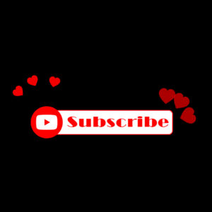 YouTube Subscribe animation with sparkling hearts