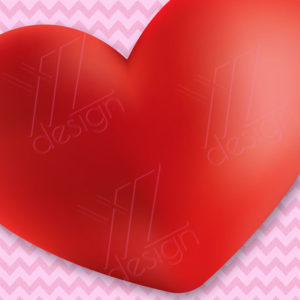 Red Heart with chevron background