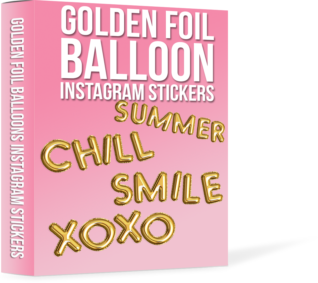 Golden Foil Balloons Instagram Stickers